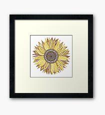 Sonnenblume-Mandala Gerahmtes Wandbild