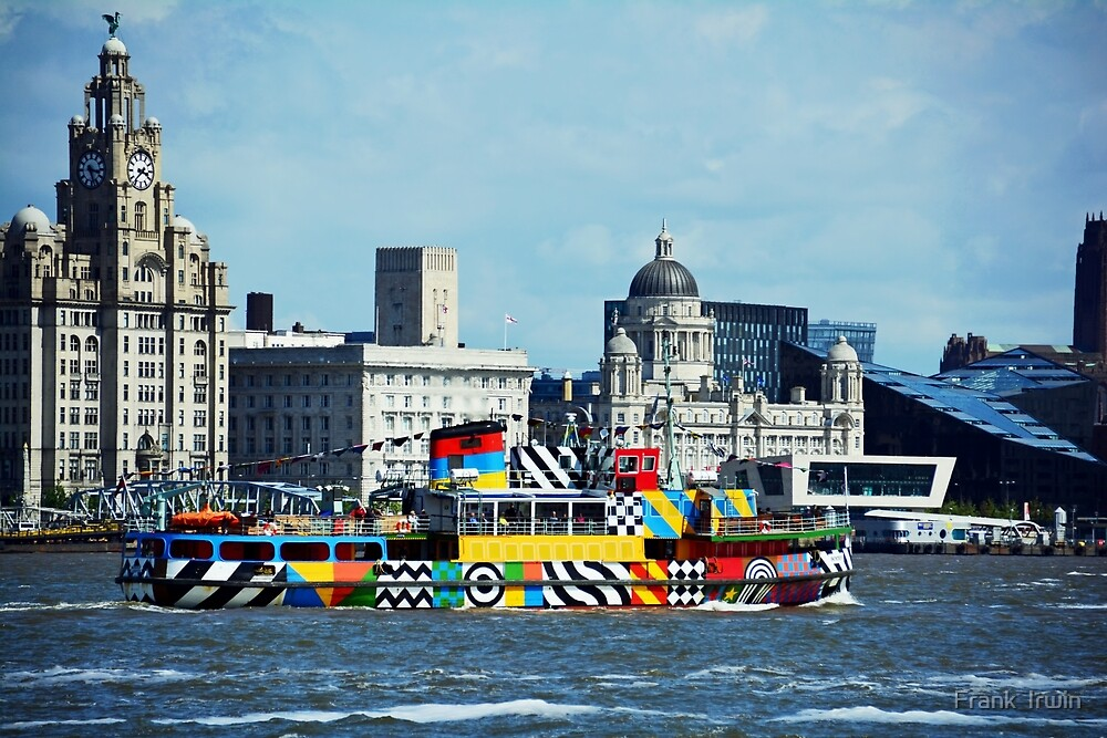 Mersey Ferry boat, Snowdrop painted with Dazzle camouflage by Frank  Irwin