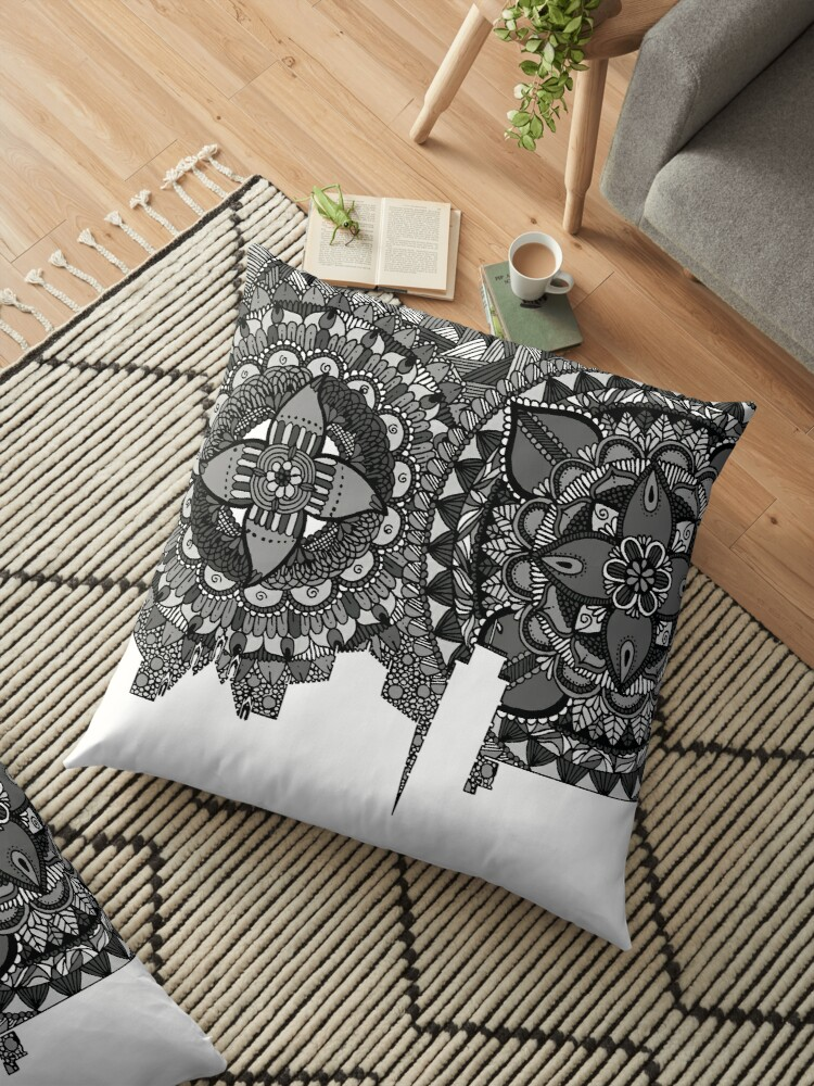 Pisa Itlay Skyline Zentangle Art Black and White by Arti Frag