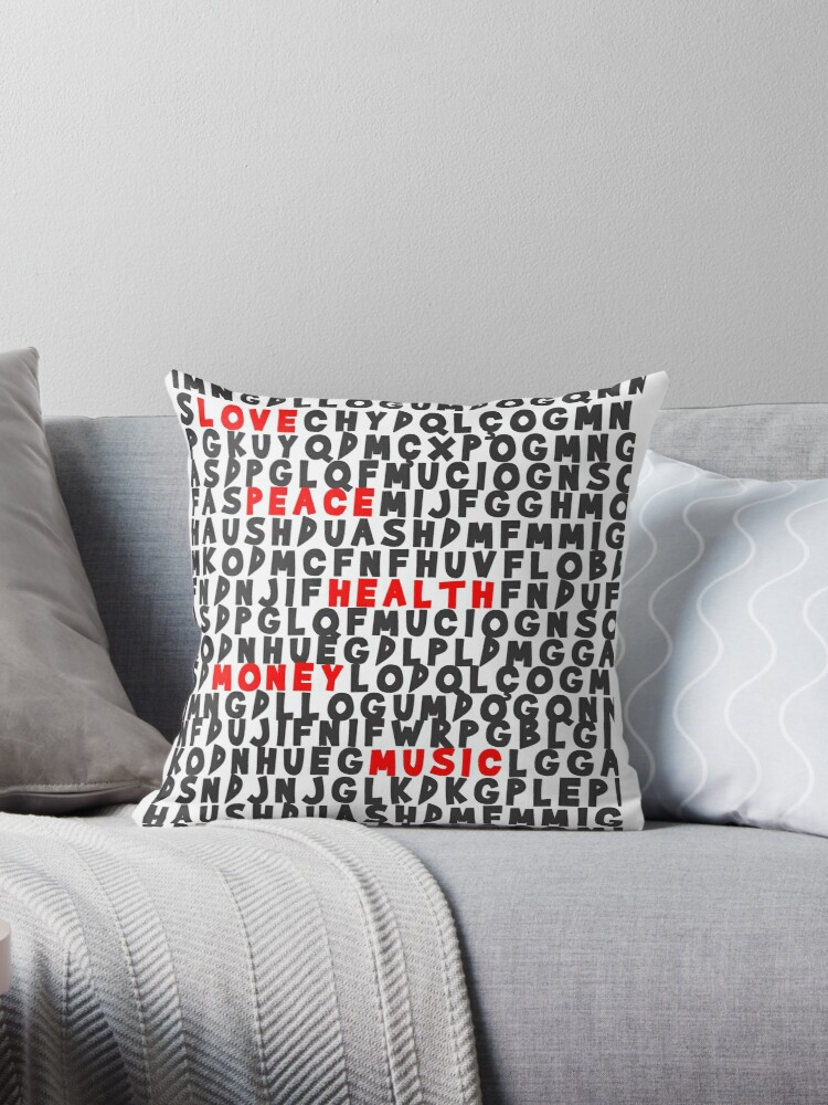 Pillows & Totes word hunting Love Peace Health Money Music by ferreiralam