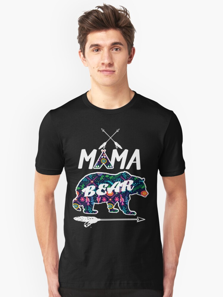Mama Bear Floral Pattern Family Vacation Camping T-Shirt Unisex T-Shirt Front