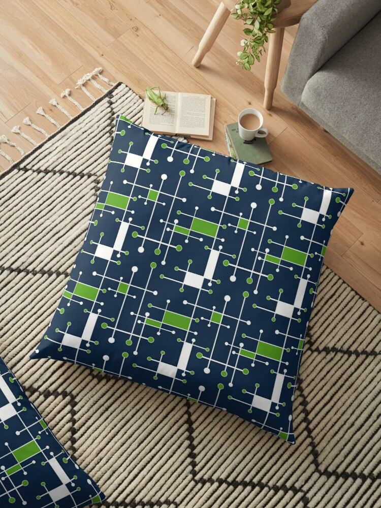 Intersecting Lines in Navy, Lime and White by MelFischer