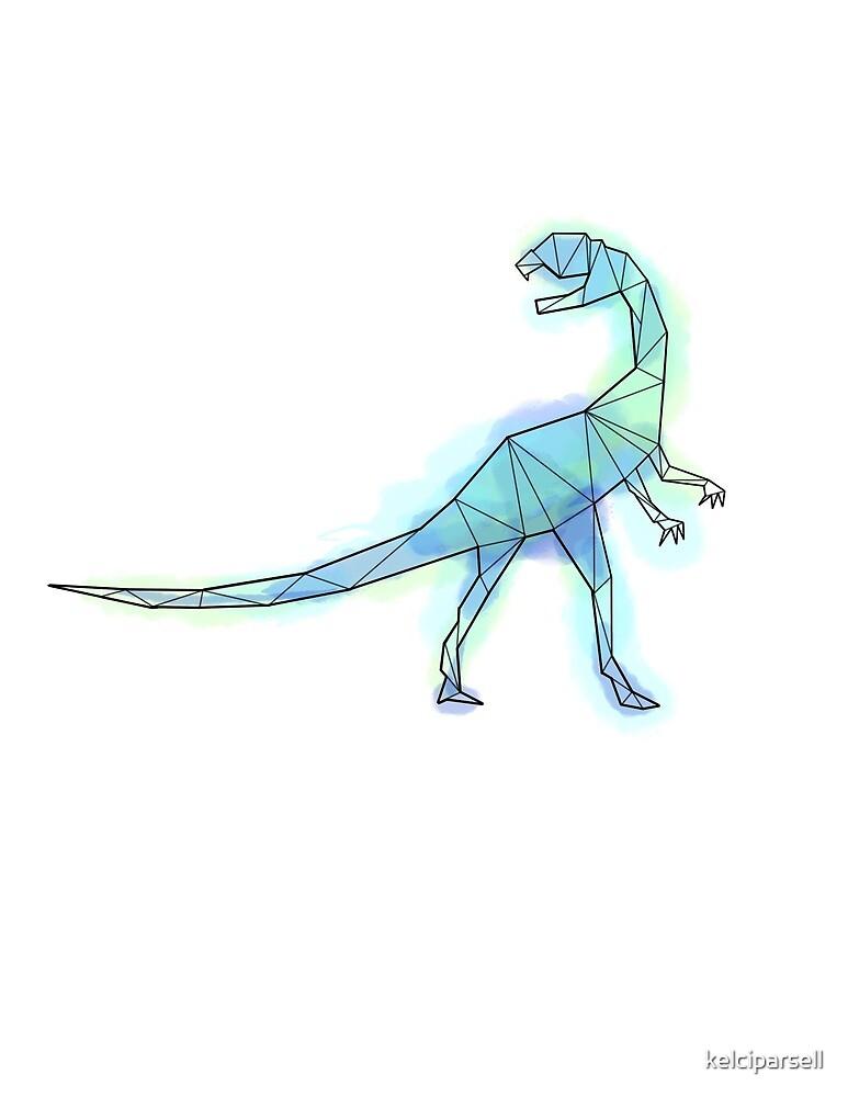 Geometric Blue Guanlong Dinosaur by kelciparsell