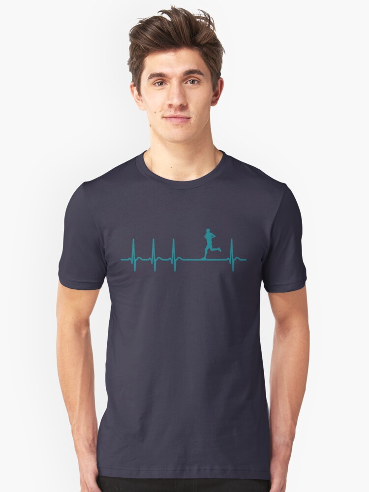 Heartbeat Jogging T-Shirt - Cool Funny Nerdy Comic Graphic Heartbeat Jogger Jogger Marathon Humor Quote Sayings Statement Shirt Gift Gift Idea Unisex T-Shirt Front
