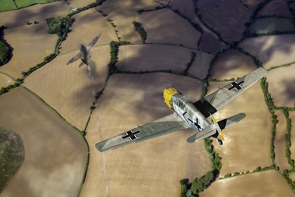 Adolf Galland attacking Spitfire by Gary Eason