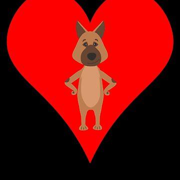 German Shepherd Cartoon Shirt Print Art Red Heart by Joeby26