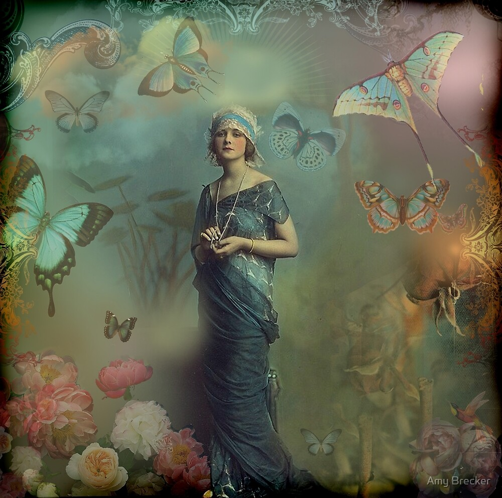 vintage butterfly woman by Amy Brecker