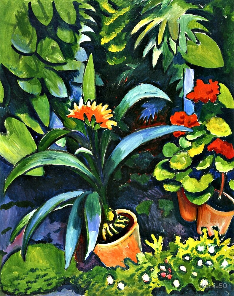Flowers in the Garden, fine art painting by virginia50