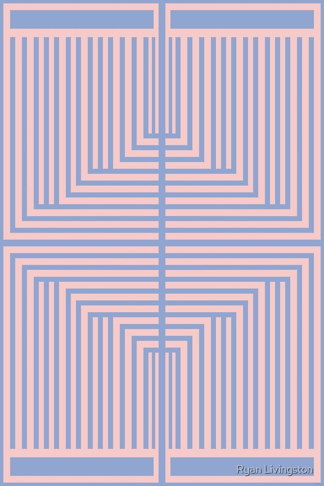 All Roads - Pink & Blue Op-Art Design by Ryan Livingston