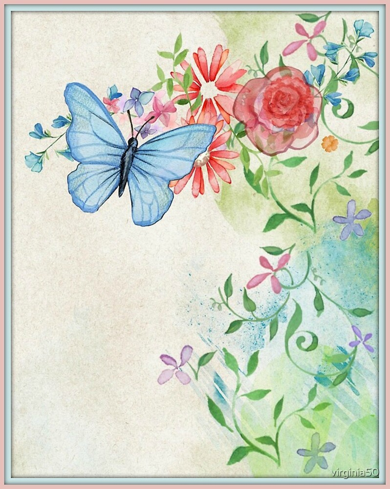 Pretty Pastel Design with Light Blue Butterfly by virginia50