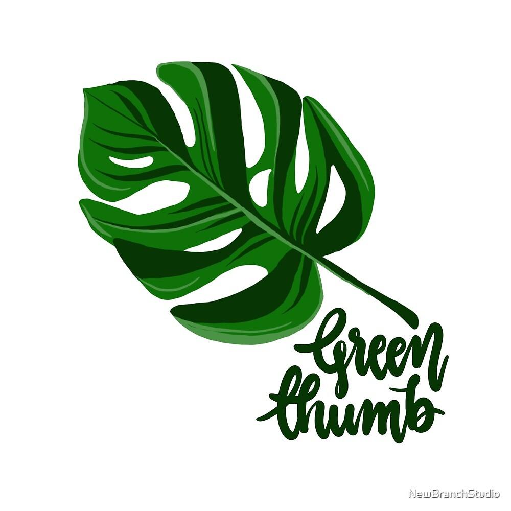 Green thumb + big tropical leaf  by NewBranchStudio
