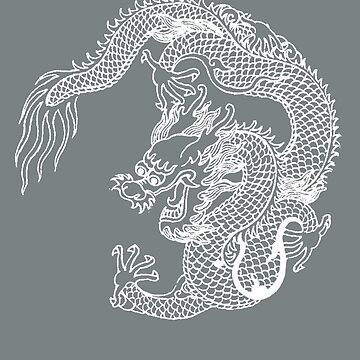 Asian Art White Dragon by Zehda