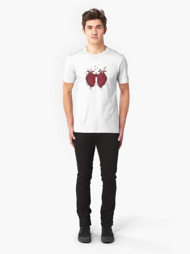 Alternate view of two hearts beating as one Slim Fit T-Shirt