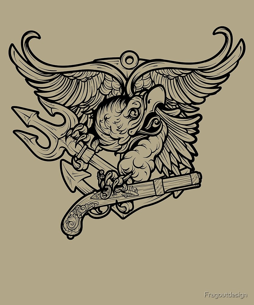 Navy SEALs Tactical Military Insignia Eagle Trident illustration by Fragoutdesign