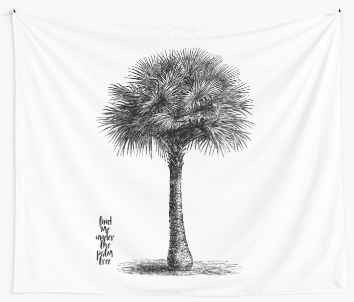 palm tree - black and white botanical illustration by ShowMeMars