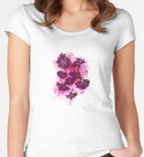 Peonies (black on pink) Women's Fitted Scoop T-Shirt