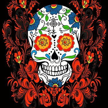 Orange Floral Sugar Skull Day Of The Dead by Atteestude