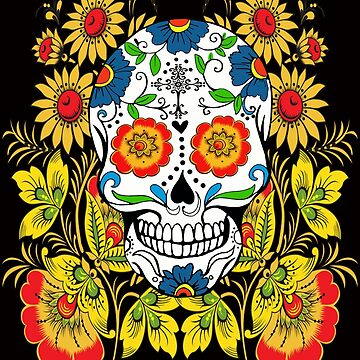 Yellow Floral Sugar Skull Day Of The Dead by Atteestude