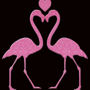 Pink Faux Glitter Flamingo With A Heart by Atteestude