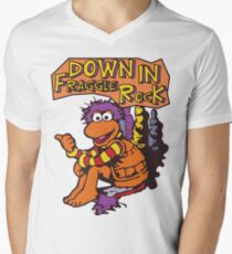 Fraggle Rock Fraggles 80s Muppets Gobo 1980s Comic Cartoon Men's V-Neck T-Shirt