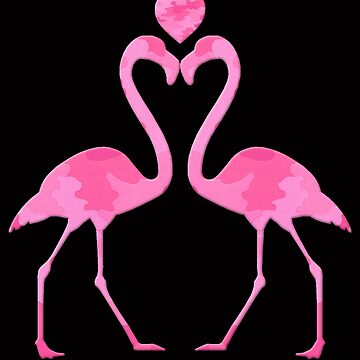 Pink Camouflage Flamingo With A Heart by Atteestude
