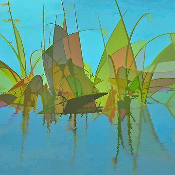 Blue Swamp Abstract by posyrosie