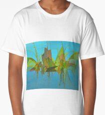 Blue Swamp Abstract Long T-Shirt