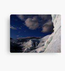 Far ice - climber in deep blue bliss Canvas Print