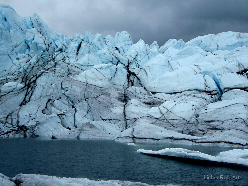 Sheer ice cliffs to lake by LichenRockArts