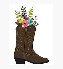 Floral Cowboy Boot Photographic Print