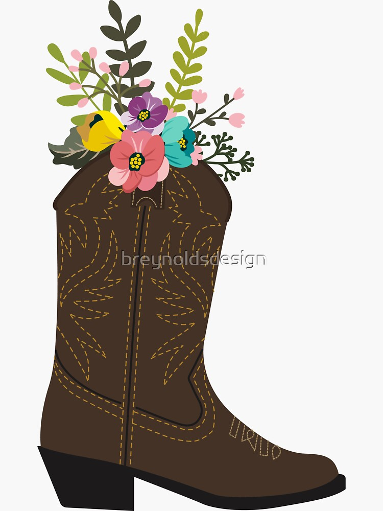 Floral Cowboystiefel von breynoldsdesign