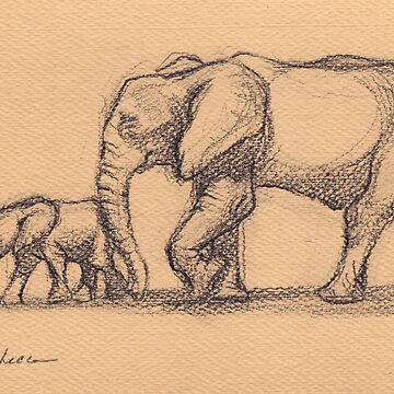My Sweet Little Boy: Baby Elephant & Mama Pencil Sketch #15 by tranquilwaters