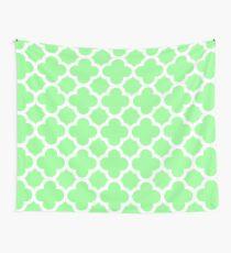 Mint Green Quatrefoil Pattern Wall Tapestry