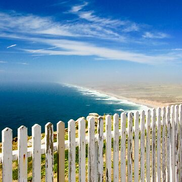 Weathered White Fence by the Sea by lenzart