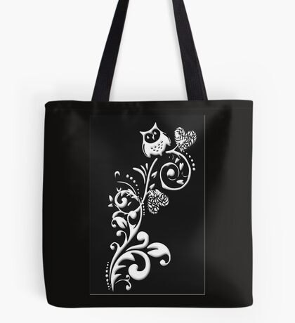 Owl on a Branch Pattern (White on Black) (4921 Views) Tote Bag