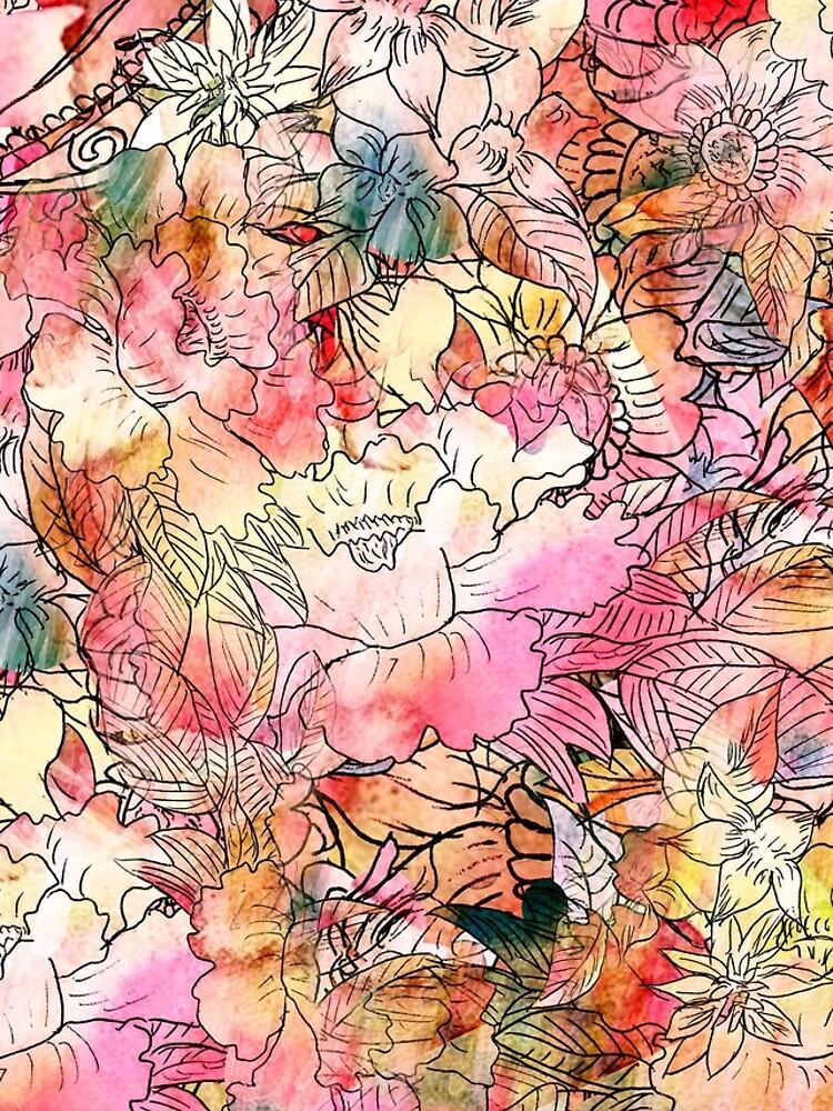 Bunte Aquarell-Blumenmuster-abstrakte Skizze von GirlyTrend
