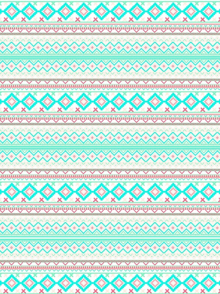 Trendy Mod Bright Teal Pink Abstract Aztec Pattern  von GirlyTrend