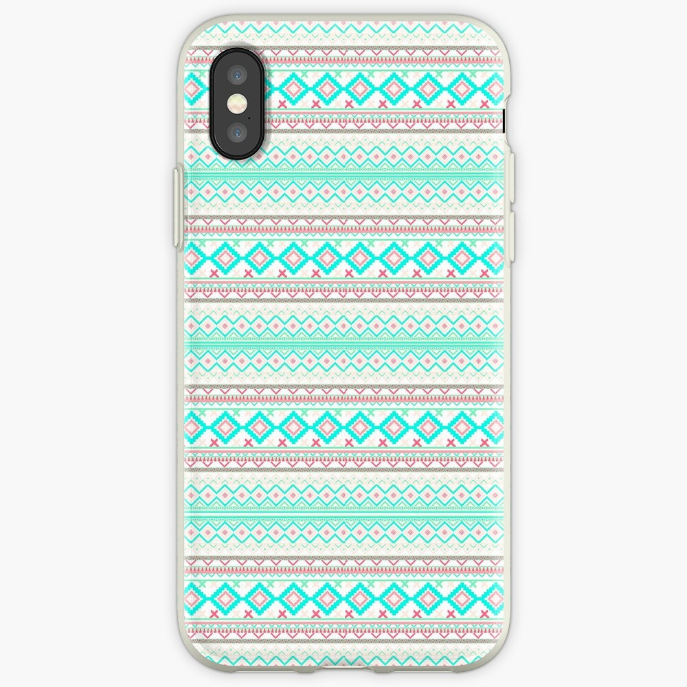 Trendy Mod Bright Teal Pink Abstract Aztec Pattern  iPhone-Hülle & Cover
