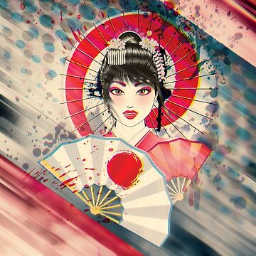 Grunge portrait of Geisha by AnnArtshock
