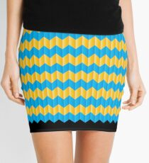 simple yellow and blue knit pattern Mini Skirt