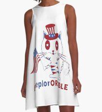 Adorable Deplorable Patriotic Kitten A-Line Dress