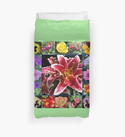 Auswahl an Sommerblumen Collage Bettbezug