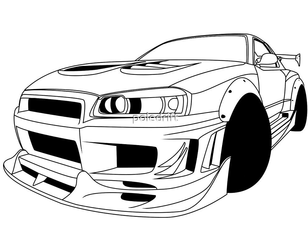 Nissan Skyline R34 Gtr Lineart By Poledrift