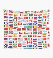 Collage aus 42 verschiedenen Nationalflaggen Wandbehang