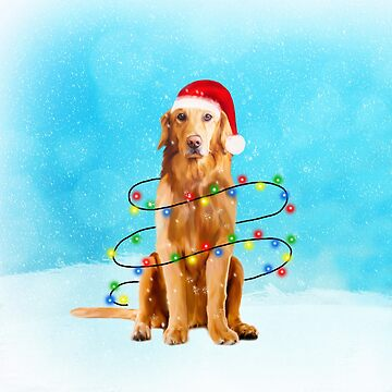 Golden Retriever Dog with Christmas Lights in Snow by aashiarsh