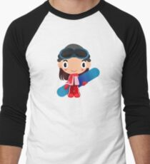 girl snow sports winter snowboard Men's Baseball ¾ T-Shirt