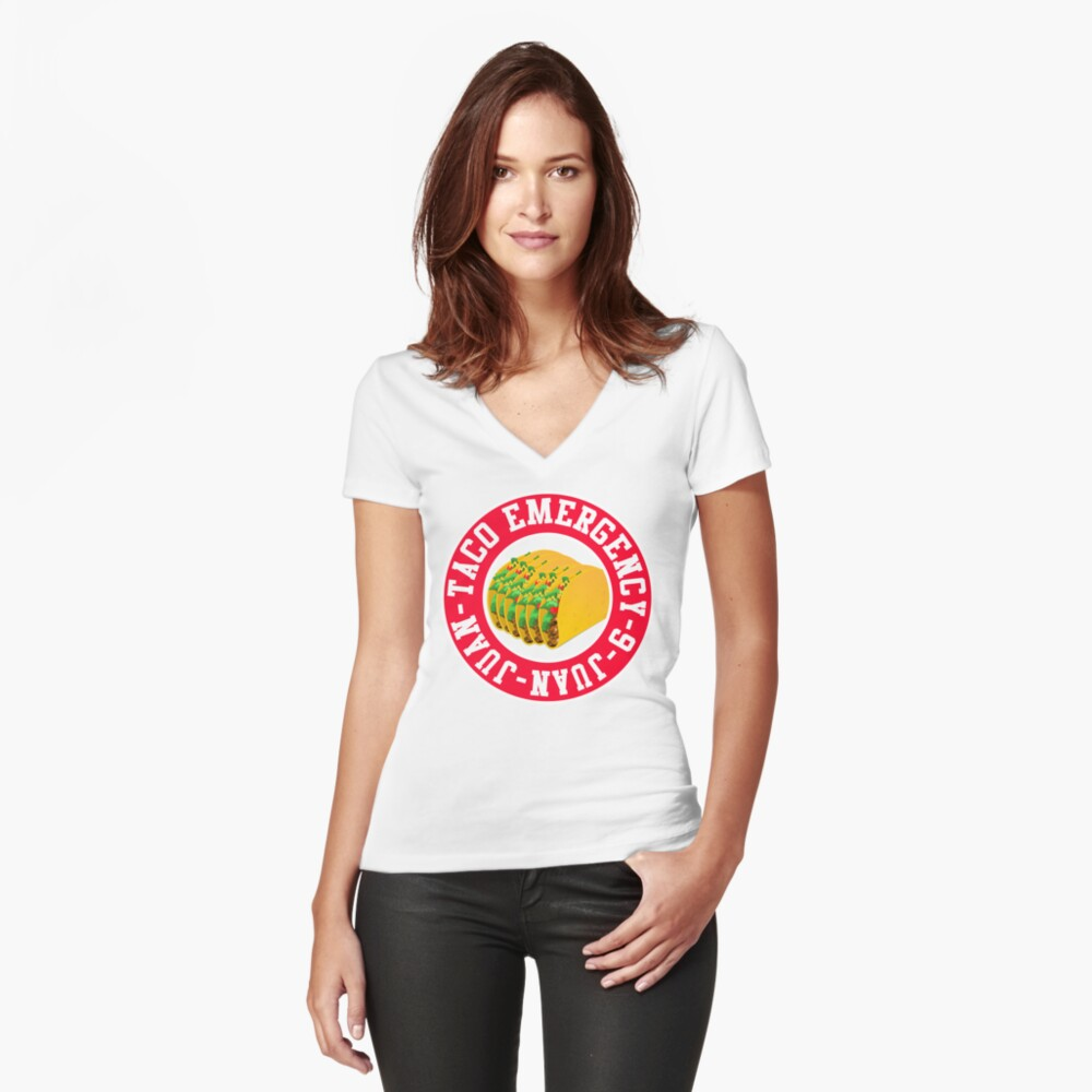 Taco Emergency Funny Shirt Women's Fitted V-Neck T-Shirt Front