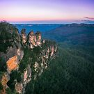Cold morning but warm sunrise colors in the sky at Three Sisters in Blue Mountains. by Danielasphotos