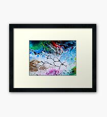 white blue green and red abstract illustration Framed Print