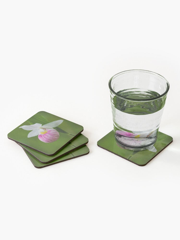 Alternate view of Showy Pink Ladyslipper Orchid Coasters (Set of 4)